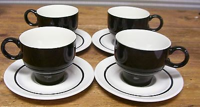 J & G  JG Meakin White Black Band 4 Cups 4 Saucers Ironstone England