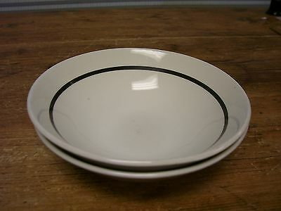J & G  JG Meakin White Black Band 2 Soup Cereal Bowl Ironstone England