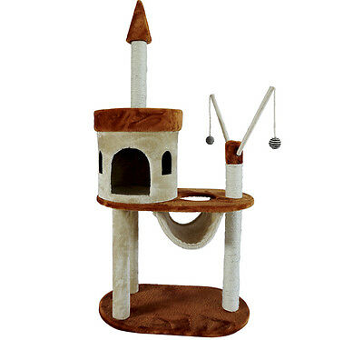 """New 55"""" Pet Furniture Cat Tree Condo House Scratch Post Condo Tower Toy Hammock"""