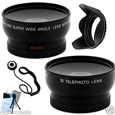 52mm Professional Telephoto + Wide Angle Lens + Hood for Nikon D3000 and D3100