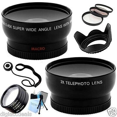 52mm Telephoto + Wide Angle Lens, Hood, Filter + Close-Up Kit for Nikon D3200