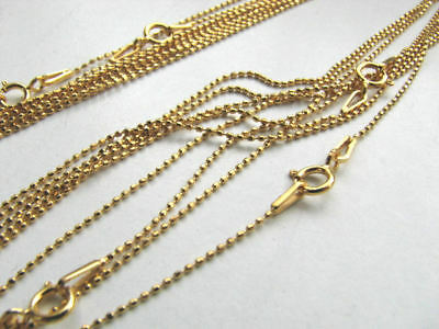 10 pcs Diamond Cut Ball Chains 16 1/2 inch Gold Plate over 925 Sterling Silver