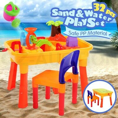 Kids Sand and Water Children Activity Play Table w/ Chair Outdoor Sandpit Toy