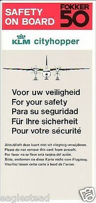 Safety Card - KLM Cityhopper - F50 - Fokker 50 (S2190)