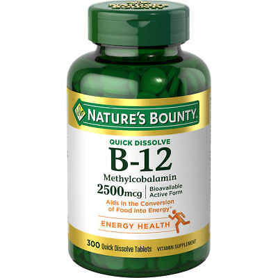 300 Nature's Bounty B-12 Sublingual Vitamin Natural Cherry Flavor 2500 mcg