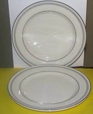 2 Buffalo China Classic Gray Band and Chain Salad Plates Restaurant Ware VTG LOT
