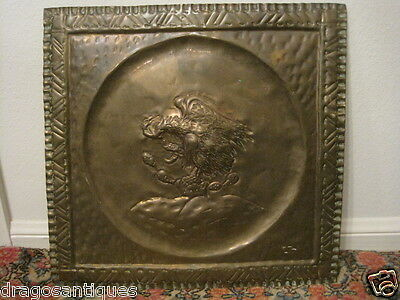 Vintage Pressed Brass Decorative Eagle Bird Attacking Snake Quality Old Piece