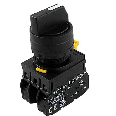 Three Position Control Type Double NO Contact Black Rotary Selector Switch