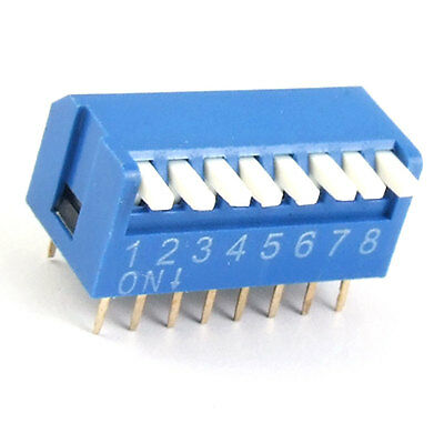 2.54mm Pitch 8 Position Piano Type DIP Switch 10 Pcs Nbpdt