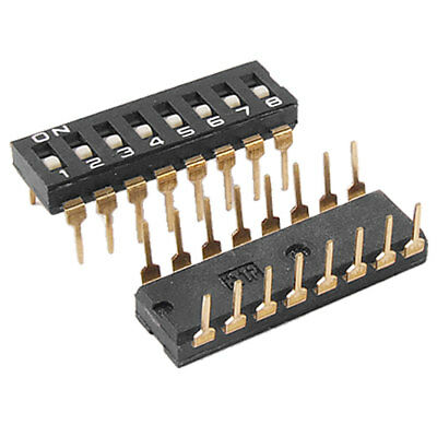 2 Pcs 2.54mm Pitch 8 Position IC Type DIP Switch Black Mbjos