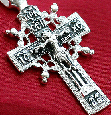OLD STYLE BIG RUSSIAN ORTHODOX ICON CROSS, SILVER 925. COLLECTIBLE ITEM.