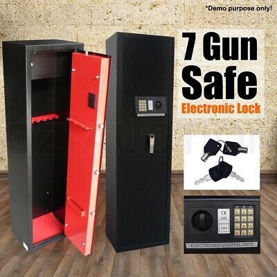 7 Rifle Storage Gun Safe Firearm Lockbox Steel Cabinet Lock Storage Heavy Duty