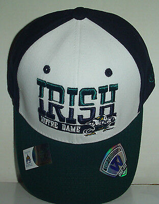ND UNIVERSITY OF NOTRE DAME FIGHTING IRISH Fitted Hat Cap Sz M/L Leprechaun