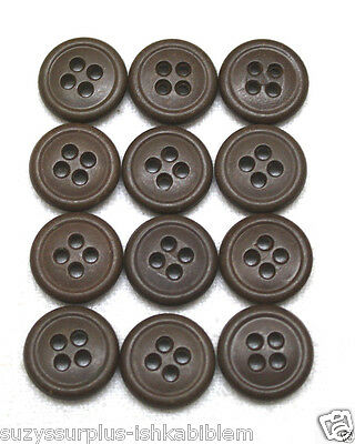 WWII US plastic buttons 5/8 inch 16mm 24L dark brown lot of 12 B9253