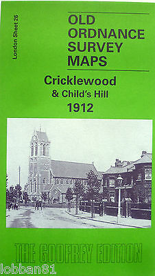 Detailed Old Ordnance Survey Map Cricklewood & Childs Hill  London 1912 S 26 New