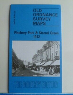 OLD Ordnance Survey Maps Finsbury Park & Stroud Green London 1912 Godfrey Edit