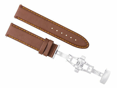 24Mm Genuine Smooth Leather Strap Band Deployment Clasp For Breitling L/brown Os