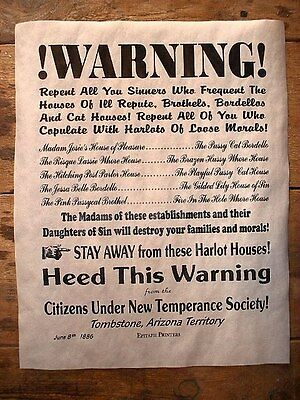 "(268L) OLD WEST BROTHEL TOMBSTONE SINNERS WARNING WHORE HOUSE POSTER 11""x17"""