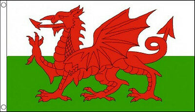 WALES FLAG 5' x 3' DELUXE NYLON Welsh Red Dragon Saint Davids Day Flags
