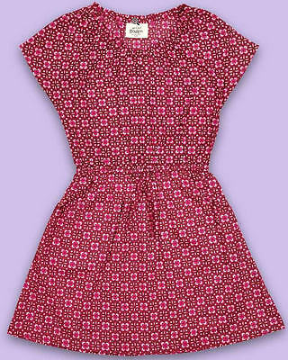 MINI BODEN girls short sleeve dress Red with clover leaf print NEW RRP £25