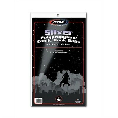 300 BCW NON-RESEALABLE Silver Age Comic Book Poly Bags + Acid Free Backer Boards