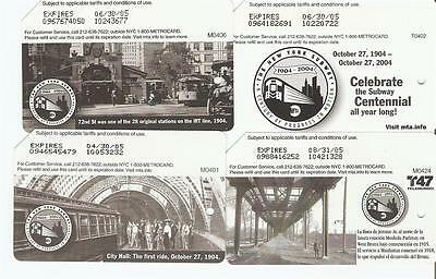Lot of 4 Vintage NEW YORK SUBWAY CENTENNIAL Metrocards - Expired 2005 - NYC