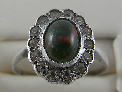 Vintage Art Deco 9ct  9K  gold band Silver Green Red Fleck & White stone ring