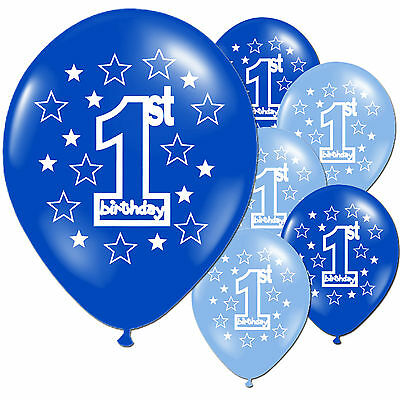 10 Blue Boy's 1st Birthday Printed Pearlised Balloons