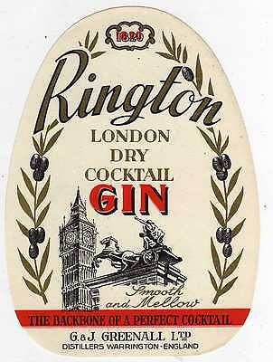 10 Etiquettes Ancienne Rington London Dry Cocktail Gin Warrington England