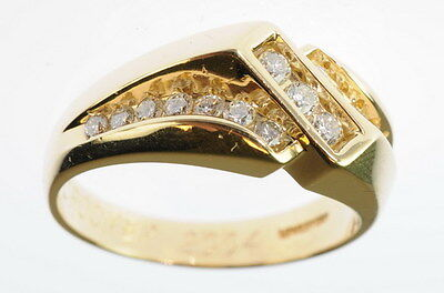 Mens 14K Yellow Gold 1 CT CTTW Diamond Solid Back Band Estate Ring 75291