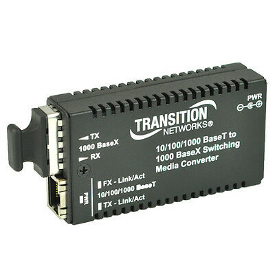 Transition Networks Mini Media Converter Gigabit Ethernet M/GE-PSW-SX-01 850nm