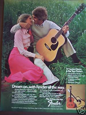 """1975 vintage AD guy & lady with Fender """"F"""" Series Guitar"""