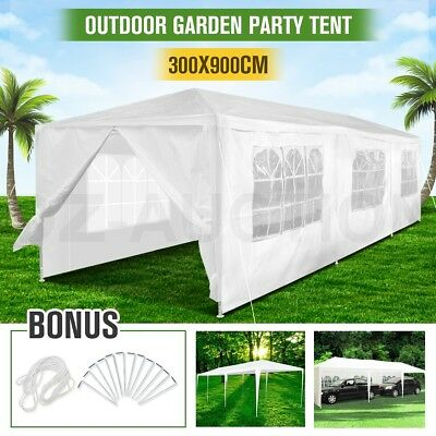 Outdoor White Gazebo Marquee Canopy Party Wedding Tent 3x9m Folding Carport