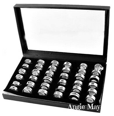 Wholesale Mixed 36 Stainless Steel Rings Great Valentines Gifts 16-22mm 8mm wide