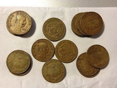 One Roll Of 17 1954 Dot Mexico 5 Centavos Brass Coins In Vf+ Condition