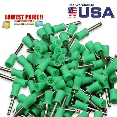 100 Pcs USA Dental Latch Type Polishing Cups Rubber Prophy Tooth Polish Green CE