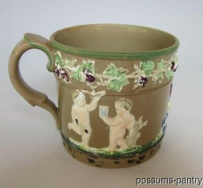 Early 19Th C. English Drabware Mug Sprigged Hand Painted
