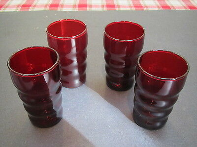 "Vintage Ruby red 4-3 5/8"" H, 5.5 oz bulbous shaped  juice tumblers-excond"