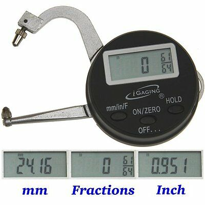 """Digital Electronic THICKNESS GAGE 0-1""""/25mm MICROMETER CALIPER Inch/mm/Fractions"""