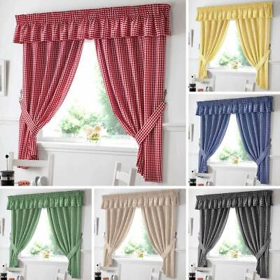 Gingham Check Kitchen Curtains Ready Made Pairs | Curtains | Pelmets | Seat Pads