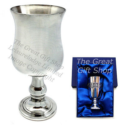 """5"""" ENGLISH PEWTER GOBLET Beautiful Hand Made Mens Womens Gift Prize ENGRAVABLE"""