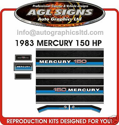 1983 MERCURY150 BLACK MAX OUTBOARD DECAL SET reproduction 200 hp also available