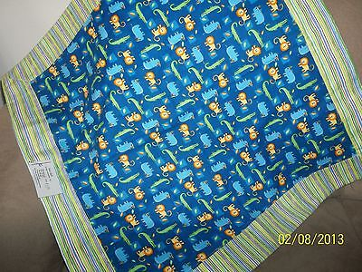 """Baby Cotton Flannel Blanket, Reversible,Jungle Theme in Blues and Greens 26""""x26"""""""