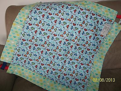 """Baby Blanket, Cotton Reversible, Cars and Hearts, 24"""" x 24"""""""