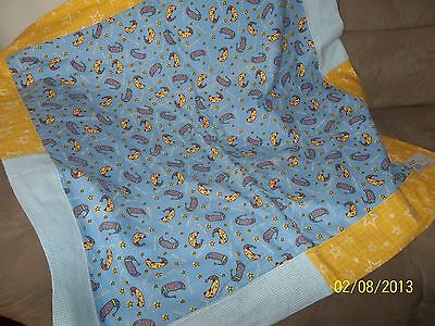 """Baby Blanket, Cotton, Beddy Byes Theme, Yellow/Blue, 36"""" X 36""""."""