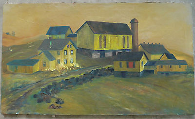 Terry Banzett, Superb Folk Art painting, Amish country townscape VIntage Oil