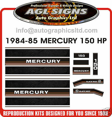 Mercury 150 Black Max Decals 1984 1985  Reproduction, Oil Injection