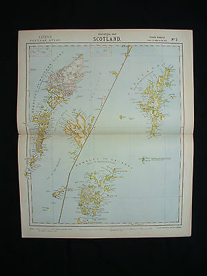 1883 LETTS - rare Map of the Isles of Scotland: Hebredes Orkneys Tiree Shetlands