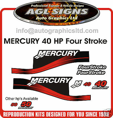 40 HP MERCURY OUTBOARD DECAL Four Stroke reproduction,  50 60 also available