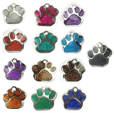 Glitter Paw Shaped Pet Dog id Tag  Free Engraving From Melian